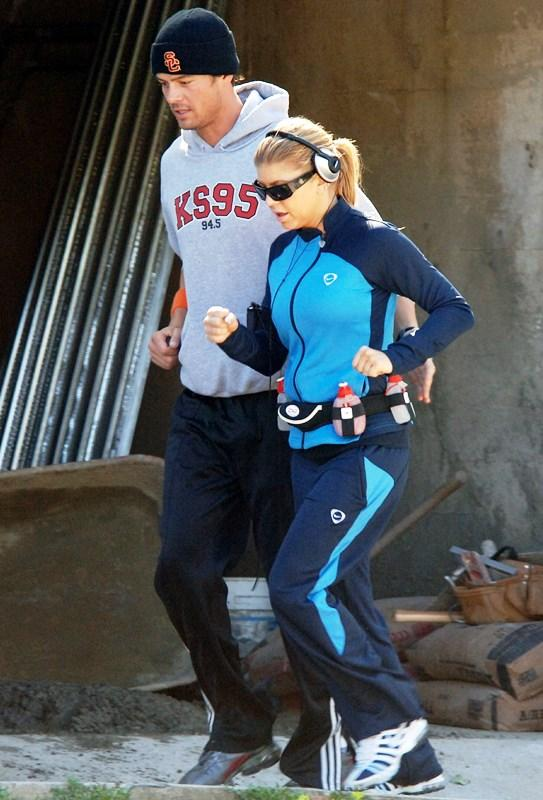 Fergie and Josh Duhamel go for a run in Santa Monica, Ca. Credit, '07: London Entertainment/Splash News.