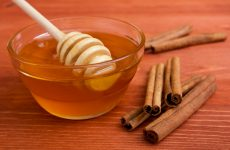 Wooden honey stick to extract honey from the container and cinnamon sticks.