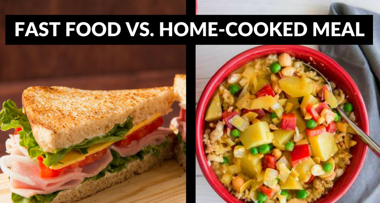 fast food vs home cooked meals Fat and calorie content of fast food versus a home-cooked meal  most fast food contains  note the totals of the single meals at the fast food restaurants.